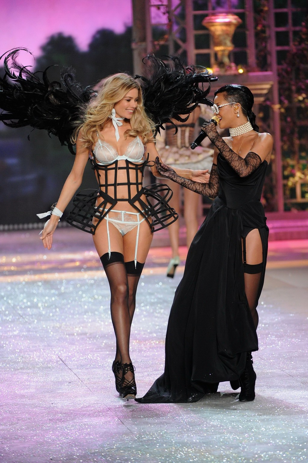 Doutzen Kroes Wearing Two See Through Lingerie Sets At